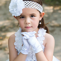 girls white wedding gloves