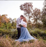 dusty blue long tulle skirt