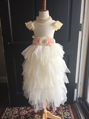 Ivory Flutter Sleeve Leotard Ballet Dance Flower girl - maidenlaneboutique