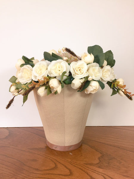 Ivory White Rose Flower Crown - maidenlaneboutique
