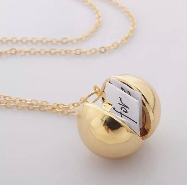 gold ball message locket