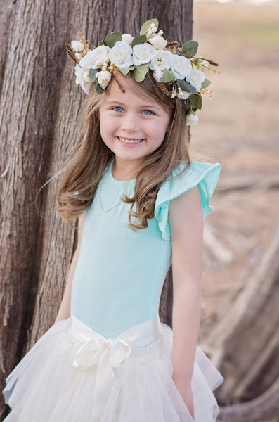 Ivory Rose Flower Crown Girls Headpiece headband halo - maidenlaneboutique