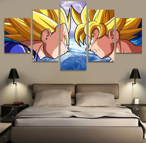 D coration murale en 5 pi ces dragon ball z goku vs vegeta for Decoration murale dragon ball z