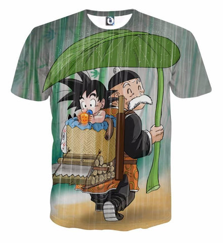 T Shirt 3D All Over Dragon Ball Goku X Papi Gohan