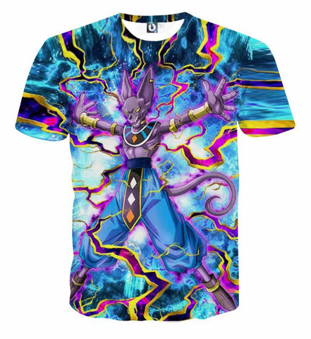 T Shirt 3D All Over Dragon Ball Super Beerus Power