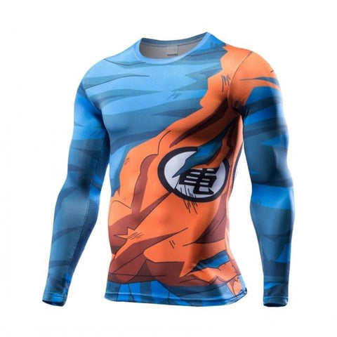 T Shirt 3D All Over Dragon Ball Z Goku Damaged Manches Longues
