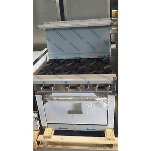 Royal - 6 Burner Stove with Oven Restaurant - Commercial  - RY-RR6-52316-N - Maltese & Co