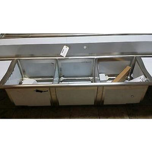 Stortec - Brand New 3 Compartment Sink wit Drain Board - S1832-672016 - Maltese & Co New and Used  restaurant Equipment