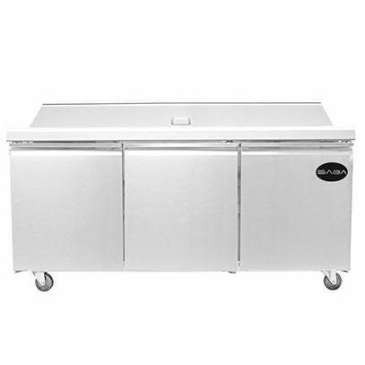 "Saba Air - (3) Three Door 72"" Mega Prep Table with Pans-SB-SPS7230M-72817-N"