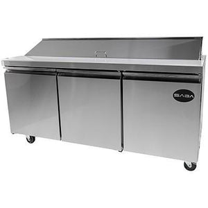 Saba Air - (3) Three Door Sandwich Prep Table with Pans-SB-SPS7218-72717-N