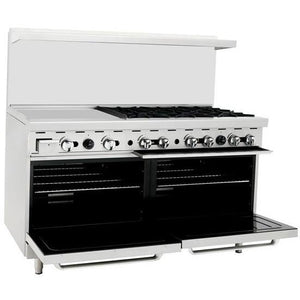 "CookRite - 36"" Gas Range, 6 Open Burners, 24"" Left Griddle, Two 26.5"" Wide Oven - Liquid Propane - Maltese & Co New and Used  restaurant Equipment"