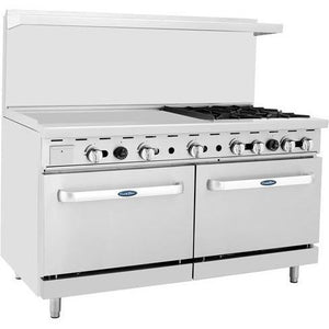 "CookRite - 60"" Gas Range, 4 Open Burners, 36"" Griddle Left, Two 26.5"" Wide Ovens - Liquid Propane - Maltese & Co New and Used  restaurant Equipment"