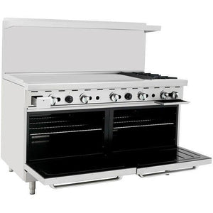 "CookRite - 60"" Gas Range, 2 Open Burners, 48"" Griddle Left, Two 26.5"" Wide Ovens - Natural Gas - Maltese & Co New and Used  restaurant Equipment"