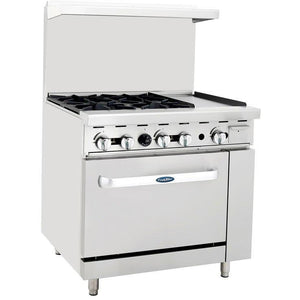 "CookRite - 36"" Gas Range, 4 Open Burners, 12"" Right Griddle, 26.5"" Wide Oven - Liquid Propane - Maltese & Co New and Used  restaurant Equipment"