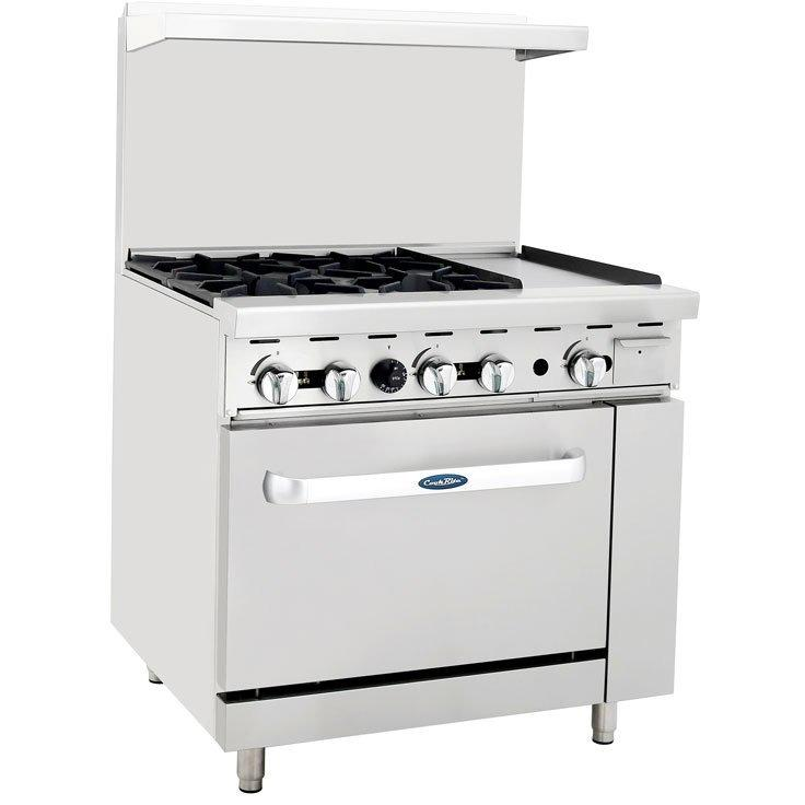 "CookRite - 36"" Gas Range, 4 Open Burners, 12"" Right Griddle, 26.5"" Wide Oven - Natural Gas - Maltese & Co New and Used  restaurant Equipment"
