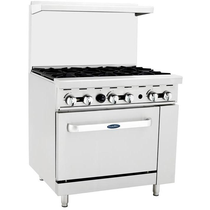 "CookRite - 36"" Gas Range, 6 Open Burners, 26.5"" Wide Oven - Natural Gas - Maltese & Co New and Used  restaurant Equipment"