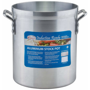 Winco - AXSI-16 - 16qt Induction Ready Alu Stock Pot, w/ Stainless Steel Bottom, 4mm - Cookware - Maltese & Co New and Used  restaurant Equipment