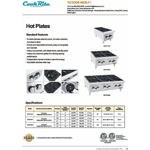 CookRite - 4 Burners, Independent Manual Control - Natural Gas - Maltese & Co New and Used  restaurant Equipment