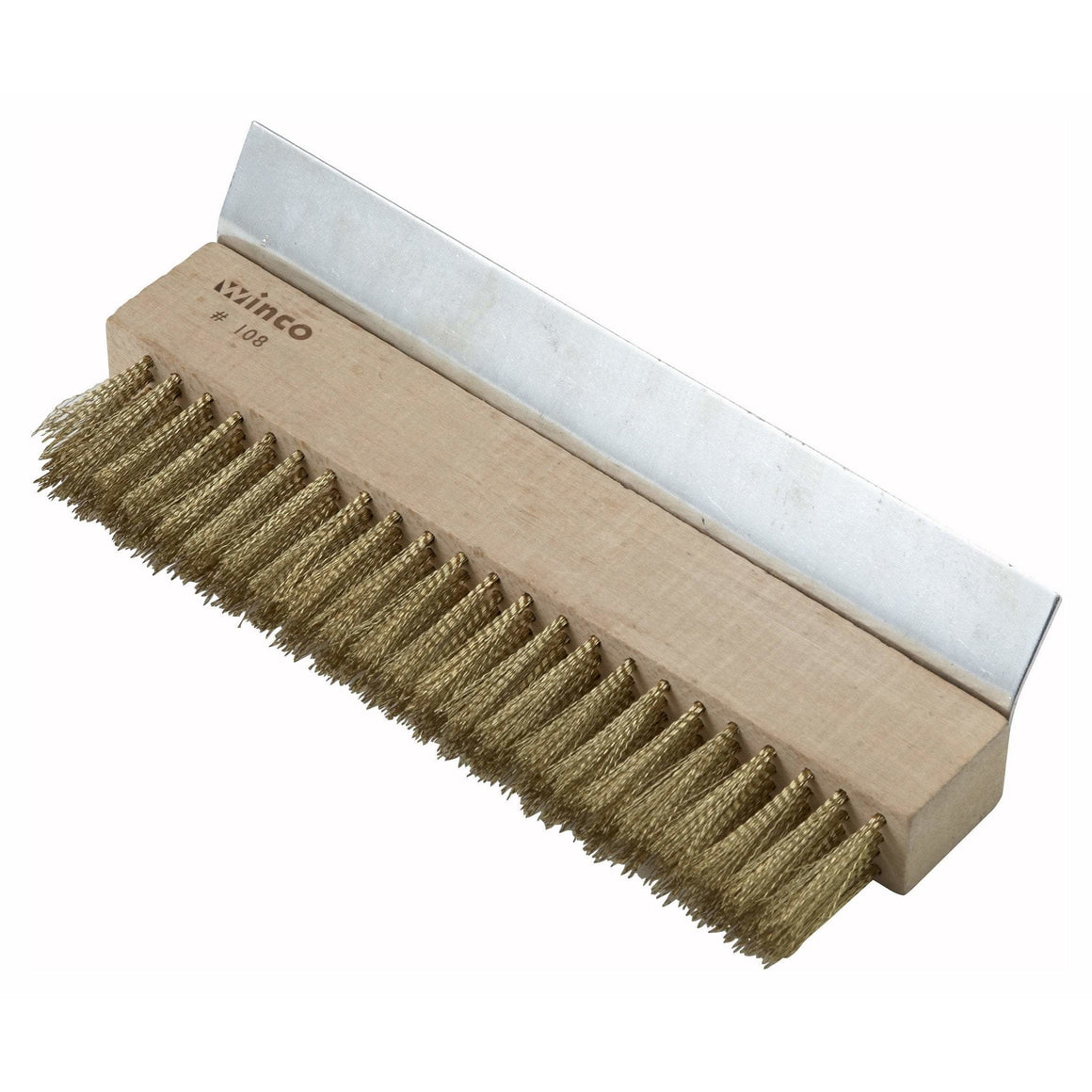 Winco - BR-10 - Pizza Oven Brush Head, Brass Bristles w/Scraper - Pizza Supplies