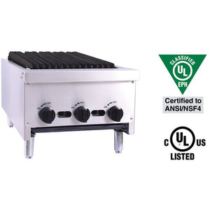 "Venancio - 18"" Gas Charbroiler - 3 Manual Controls - CGG18-3"