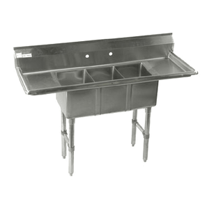 KLINGERS CON32D Stainless Steel 3 Compartment Convenience / Deli Sink