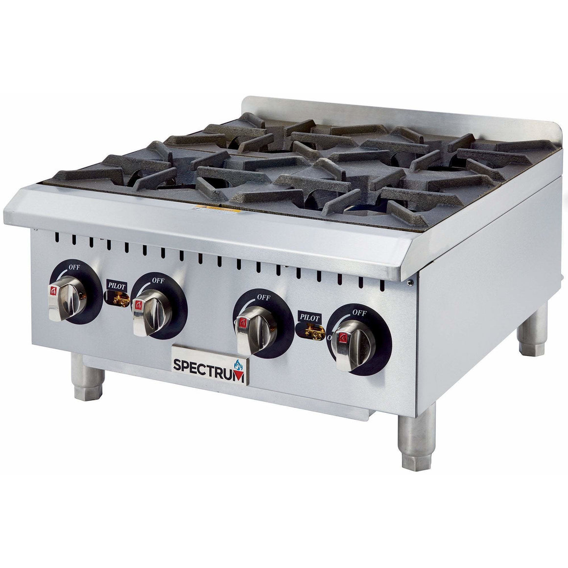 Winco - GHP-4 - Spectrum Gas 4 Open Burner Hot Plate, Manual  + 1 Set Conversion Kit - Countertop
