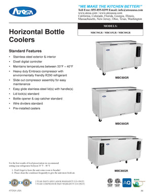 Atosa MBC65 65'' Bottle Cooler - Stainless Steel Exterior & Interior - 16.4 Cubic Ft - Maltese & Co New and Used  restaurant Equipment