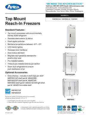 Atosa - Top Mount - Three Door Freezer - 69.2 Cubic Ft. - Maltese & Co New and Used  restaurant Equipment