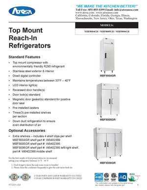 Atosa - Top Mount - Three Door Refrigerator - 64.88 Cubic Ft. - Maltese & Co New and Used  restaurant Equipment