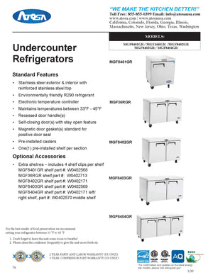Atosa MGF8404GR 72'' Undercounter Refrigerator - 21.13 Cubic Ft. - Maltese & Co New and Used  restaurant Equipment