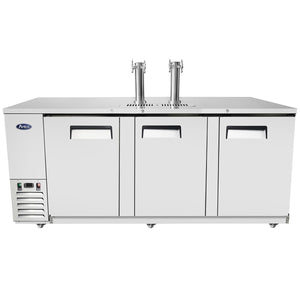 Atosa - 90'' Keg Cooler - Stainless Steel Exterior & Interior - Dual Faucet Tower - 21.5 Cubic Ft - Maltese & Co New and Used  restaurant Equipment