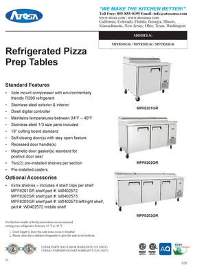 Atosa MPF8201GR 44'' Pizza Prep Table - 9.7 Cubic Ft - Maltese & Co New and Used  restaurant Equipment