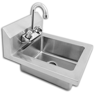 Mix Rite - Hand sink Wall mount design with 8'' back splash, Wall mount design with 8'' back splash - Lead free faucet included - NSF
