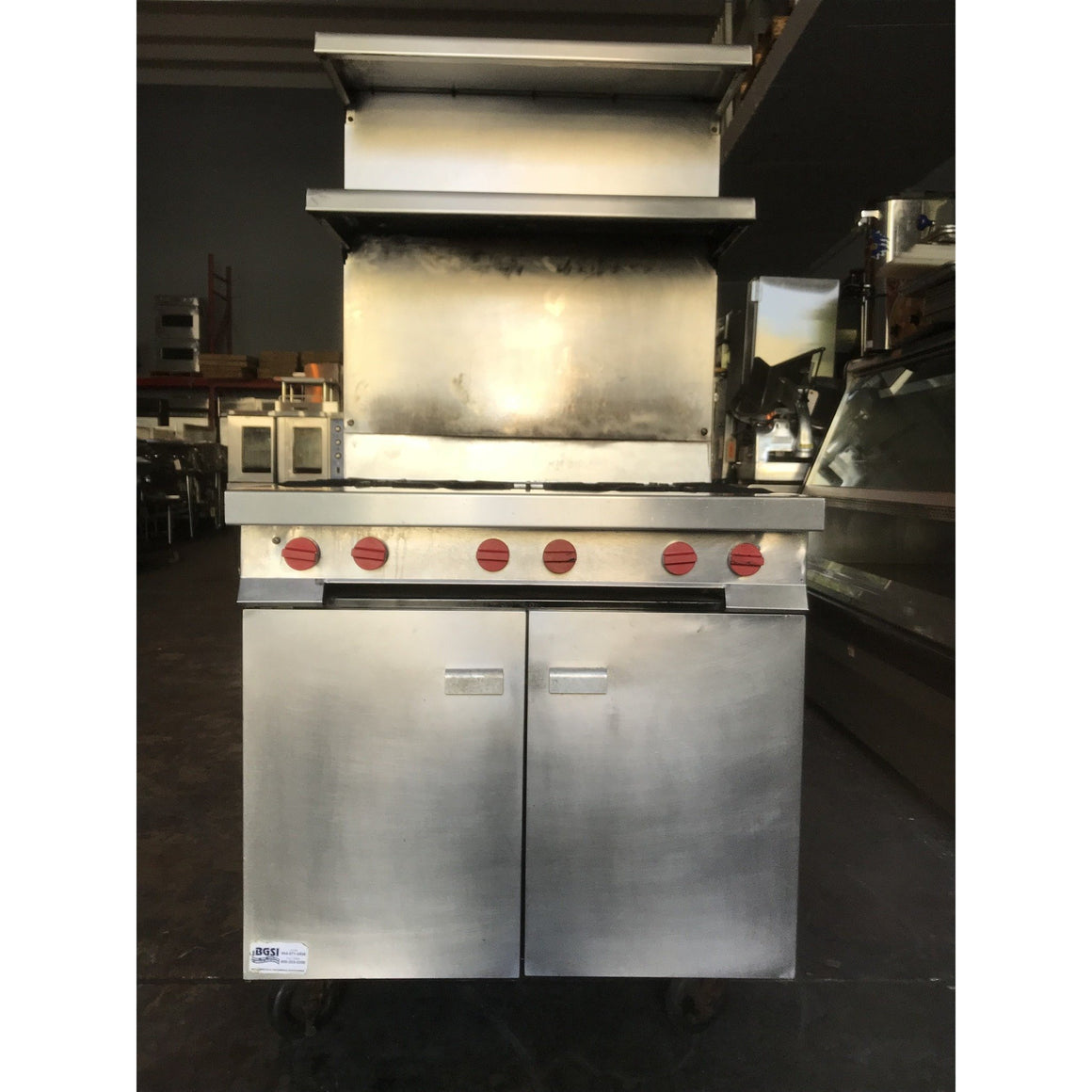 Vulcan- 6 Burner Range with cabinet base and upper storage shelve-VU-GH6S5-481568652-U - Maltese & Co New and Used  restaurant Equipment