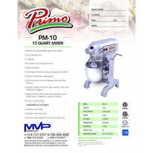 Primo - PM-10 - Planetary Mixer - Brand New - Maltese & Co New and Used  restaurant Equipment