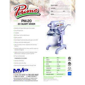 Primo - PM-20 - Planetary Mixer - Brand New - Maltese & Co New and Used  restaurant Equipment