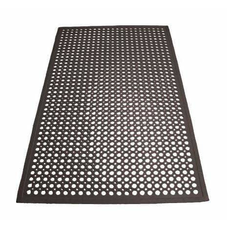"Winco - RBM-35K - Rubber Floor Mat, 3' x 5' x 1/2"", Beveled Edges, Black - Janitorial - Maltese & Co New and Used  restaurant Equipment"