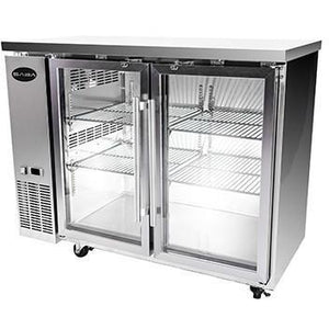 "Saba Air - 48-7 , 8"" (2) Two Glass  Door Back Bar Stainless Steel Cooler-SB-STBB2448GSS-8217-N"