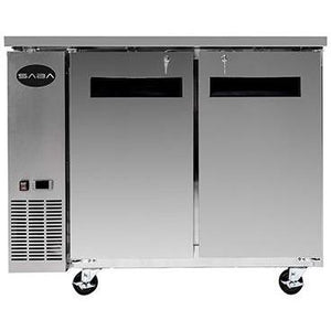 "Saba Air - 48-7 , 8"" (2) Two Door Solid Stainless Steel Back Bar Cooler-SB-STBB2448SS-8217-N"