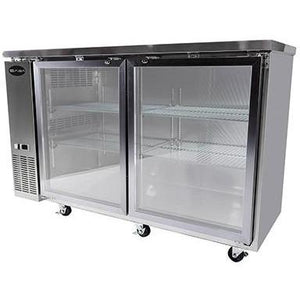 "Saba Air - 60-7 , 8"" (2) Two Glass  Door Back Bar Stainless Steel Cooler-SB-STBB2460GSS-8217-N"