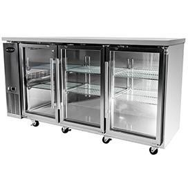 "Saba Air - 72-7 , 8"" (3) Three Glass  Door Back Bar Stainless Steel Cooler-SB-STBB2472GSS-8217-N"