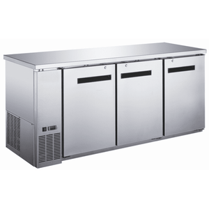 "Saba Air - 72-7 , 8"" (3) Three Door Solid Stainless Steel Back Bar Cooler-SB-STBB2472SS-8217-N"
