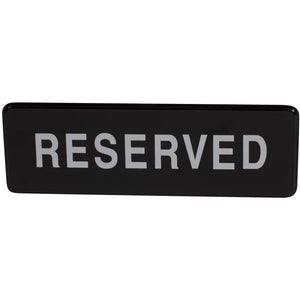 "Winco - SGN-328 - Information Sign, ""Reserved"", 3"" x 9"", Black - Dining Service - Maltese & Co New and Used  restaurant Equipment"