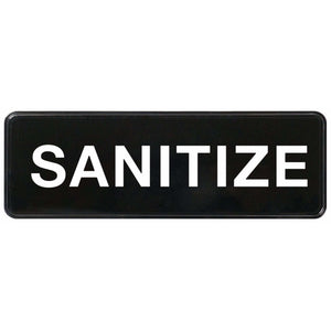 "Winco - SGN-329 - Information Sign, ""Sanitize"", 3"" x 9"", Black - Dining Service - Maltese & Co New and Used  restaurant Equipment"