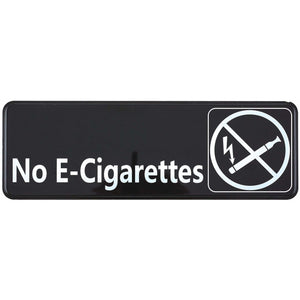 "Winco - SGN-335 - Information Sign, ""No E-Cigarettes"", 3"" x 9"", Black - Dining Service - Maltese & Co New and Used  restaurant Equipment"
