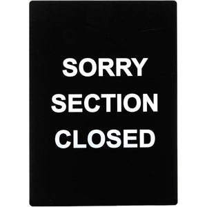 "Winco - SGN-804 - Stanchion  Sign, ""Sorry Section Closed"" - Dining Service - Maltese & Co New and Used  restaurant Equipment"