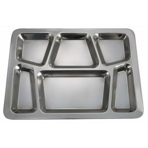 "Winco - SMT-2 - Mess Tray, 6 Compartment, Style B, Stainless Steel,15-1/2"" x 11-1/2"" - Dining Service - Maltese & Co New and Used  restaurant Equipment"