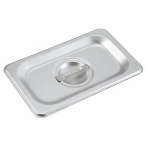 Winco - SPSCN - Stainless Steel Steam Pan Cover, 1/9 Size, Solid - Steam Table