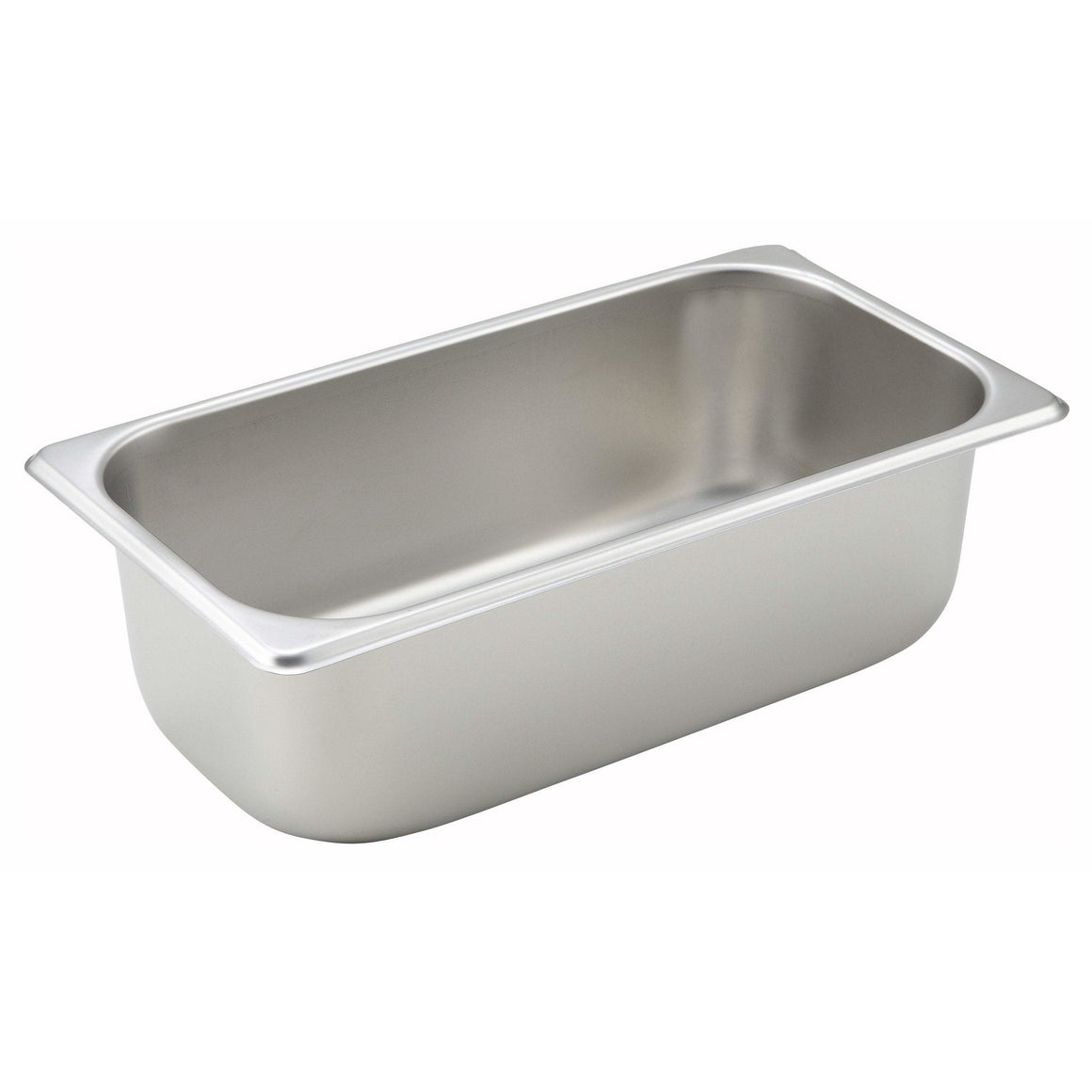 "Winco - SPT4 - Straight-sided Steam Pan, 1/3 Size, 4"", 25 Ga Stainless Steel - Steam Table"