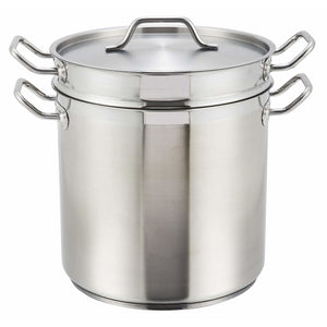 Winco - SSDB-16 - 16qt Stainless Steel Double Boiler w/Cover - Cookware - Maltese & Co New and Used  restaurant Equipment